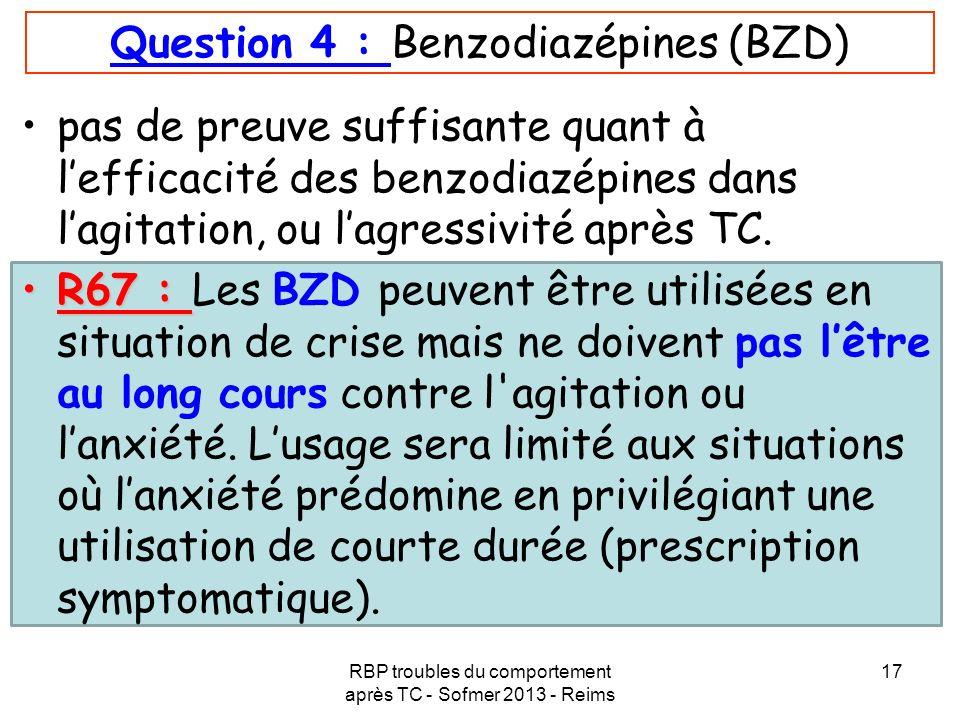 RBP troubles du comportement après TC - Sofmer 2013 - Reims 17 Question 4 : Benzodiazépines (BZD) pas de preuve suffisante quant à lefficacité des ben