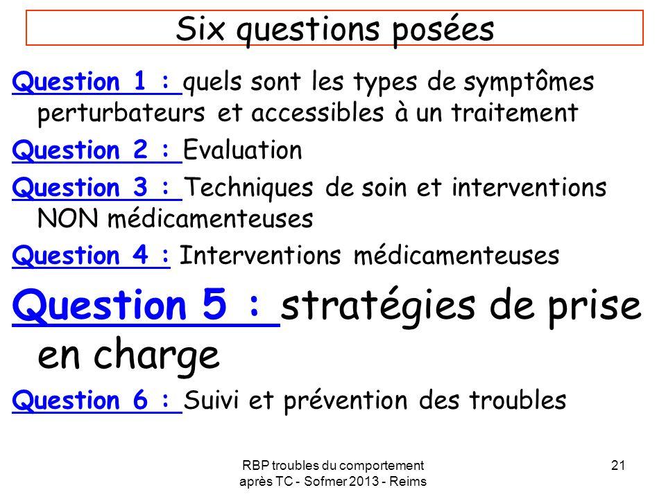 RBP troubles du comportement après TC - Sofmer 2013 - Reims 21 Six questions posées Question 1 : quels sont les types de symptômes perturbateurs et ac