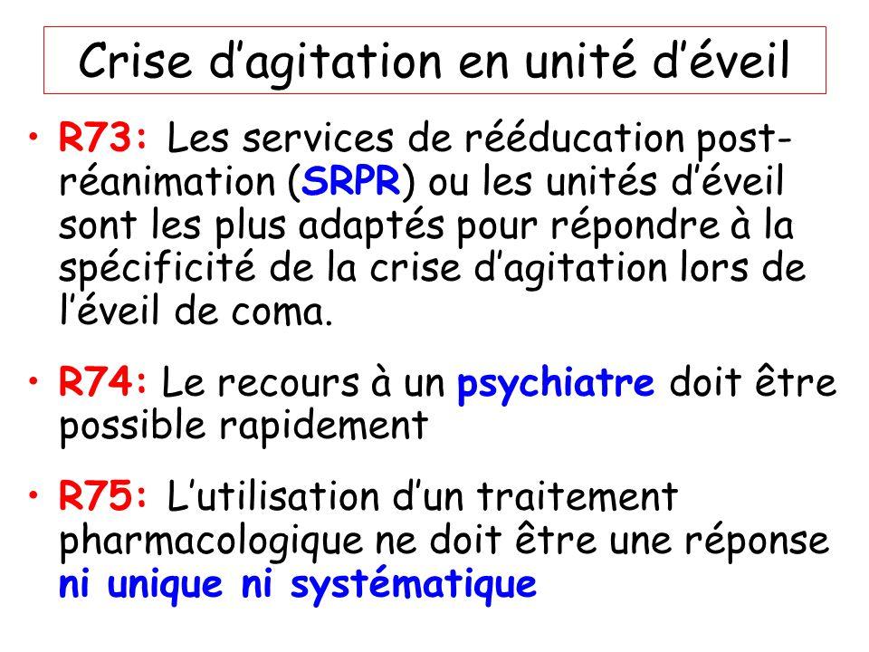 Crise dagitation en unité déveil R73: Les services de rééducation post- réanimation (SRPR) ou les unités déveil sont les plus adaptés pour répondre à
