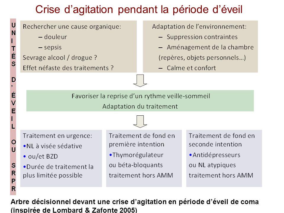 Arbre décisionnel devant une crise dagitation en période déveil de coma (inspirée de Lombard & Zafonte 2005) Crise dagitation pendant la période dévei