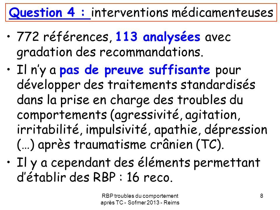RBP troubles du comportement après TC - Sofmer 2013 - Reims 8 Question 4 : interventions médicamenteuses 772 références, 113 analysées avec gradation