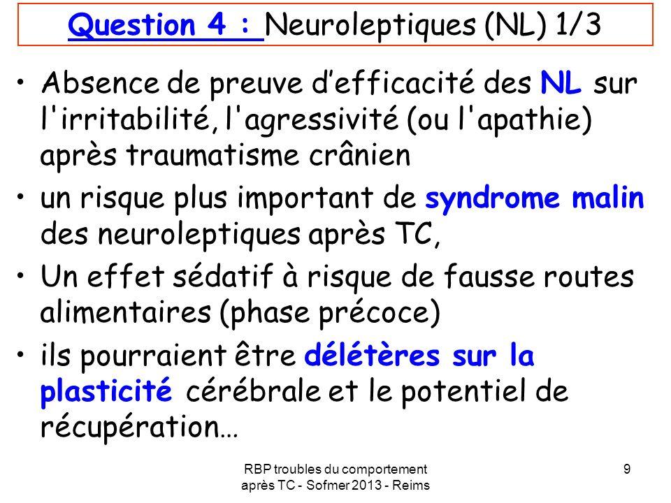 RBP troubles du comportement après TC - Sofmer 2013 - Reims 9 Question 4 : Neuroleptiques (NL) 1/3 Absence de preuve defficacité des NL sur l'irritabi