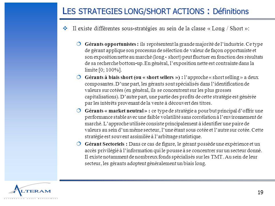 19 L ES STRATEGIES LONG/SHORT ACTIONS : Définitions Il existe différentes sous-stratégies au sein de la classe « Long / Short »: Gérants opportunistes : ils représentent la grande majorité de lindustrie.