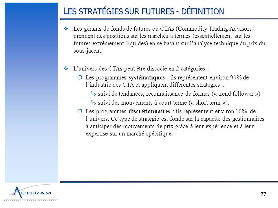 27 L ES STRATÉGIES SUR FUTURES - DÉFINITION Les gérants de fonds de futures ou CTAs (Commodity Trading Advisors) prennent des positions sur les marché