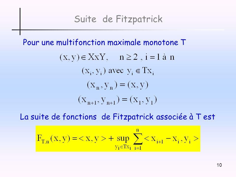 10 Pour une multifonction maximale monotone T Suite de Fitzpatrick La suite de fonctions de Fitzpatrick associée à T est