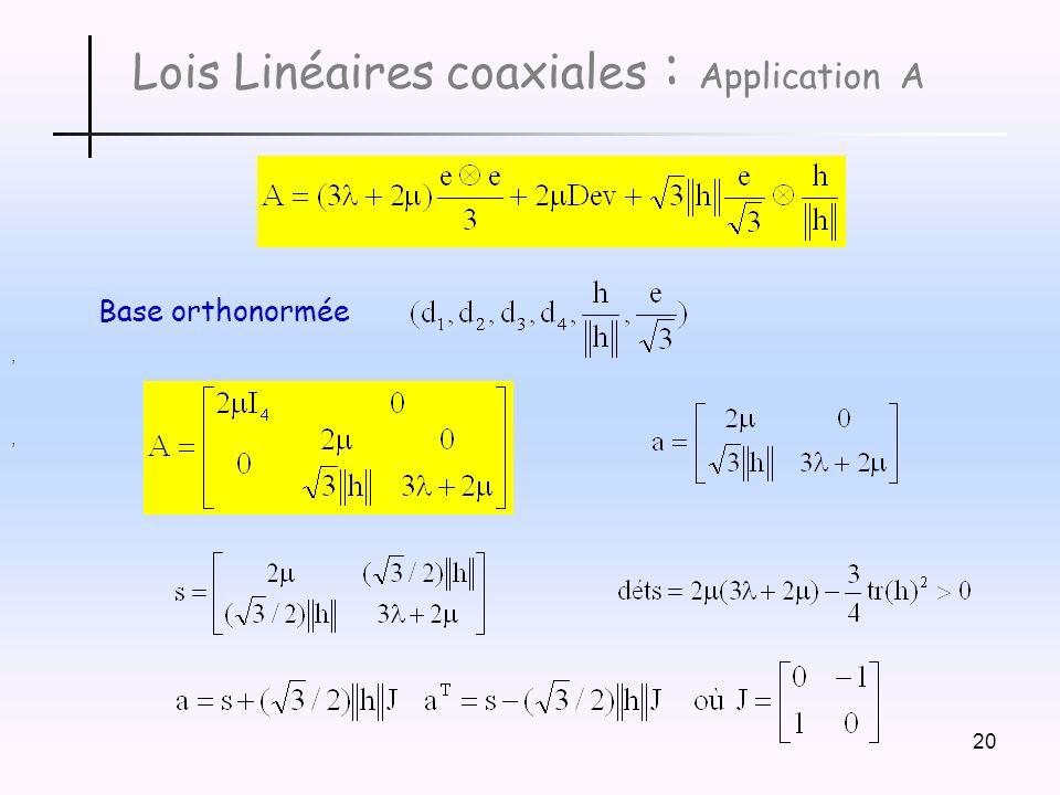 20 Lois Linéaires coaxiales : Application A,, Base orthonormée