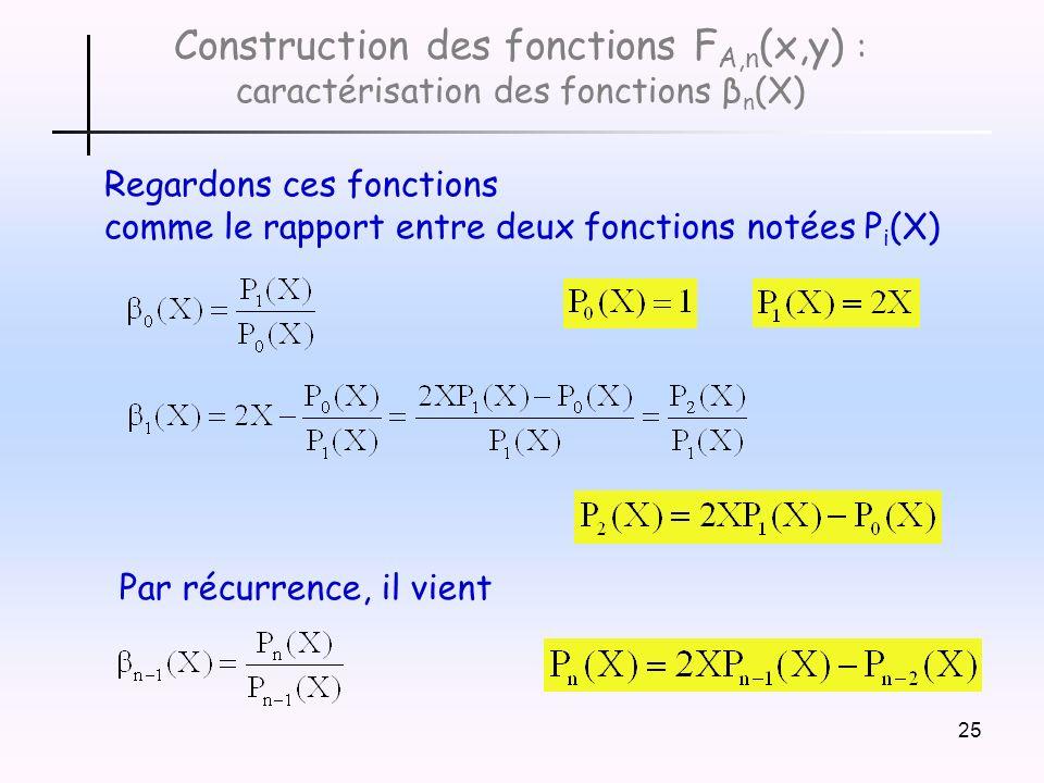 25 Construction des fonctions F A,n (x,y) : caractérisation des fonctions β n (X) Regardons ces fonctions comme le rapport entre deux fonctions notées P i (X) Par récurrence, il vient