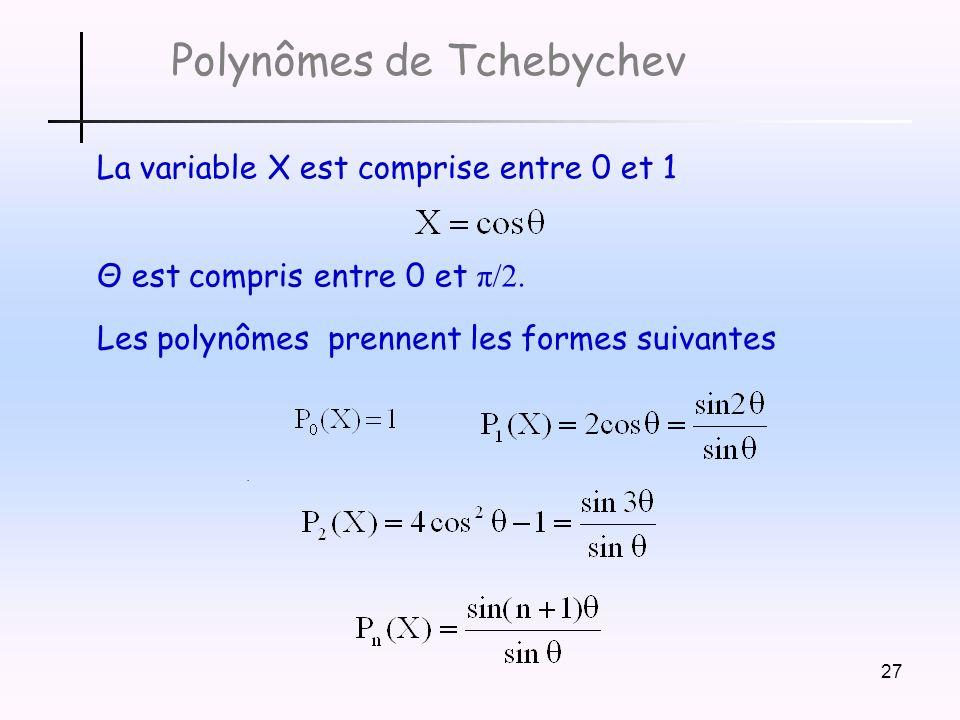 27 Polynômes de Tchebychev La variable X est comprise entre 0 et 1 Θ est compris entre 0 et π/2..