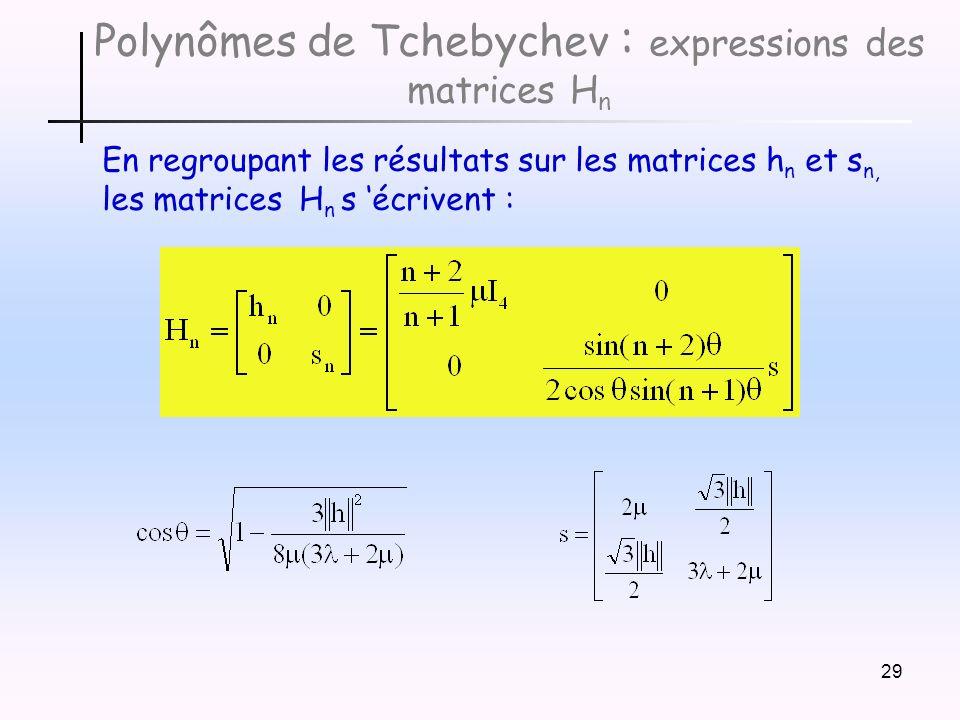 29 Polynômes de Tchebychev : expressions des matrices H n En regroupant les résultats sur les matrices h n et s n, les matrices H n s écrivent :