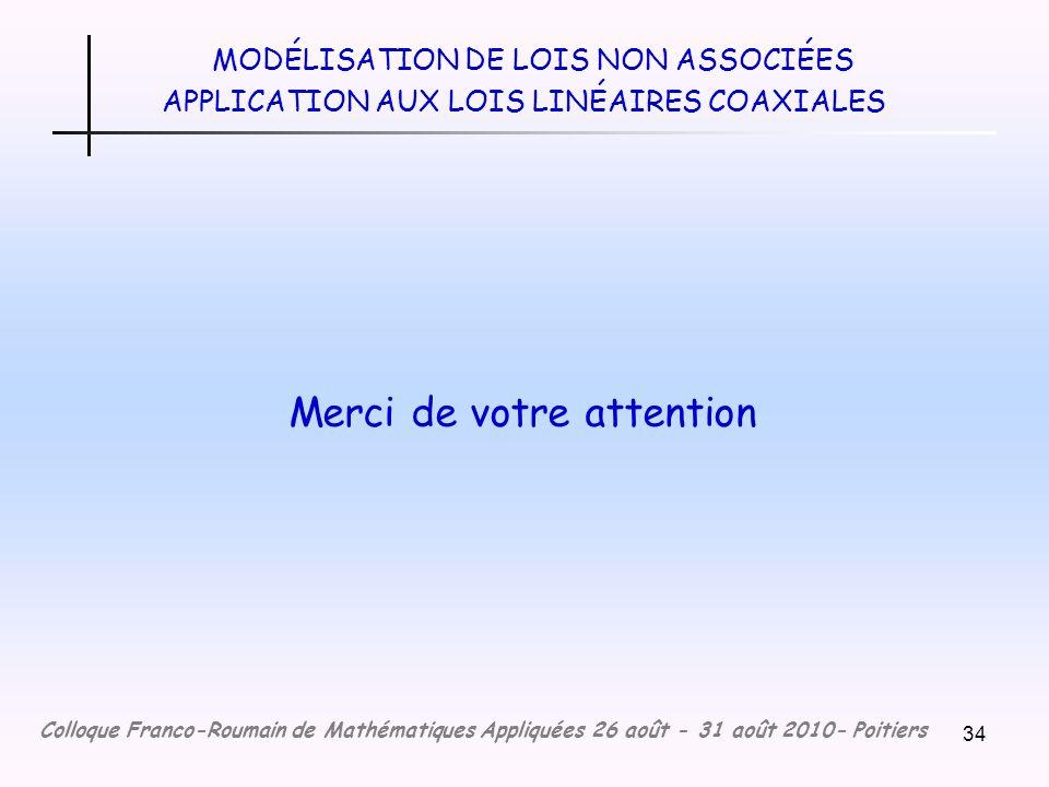 34 MODÉLISATION DE LOIS NON ASSOCIÉES APPLICATION AUX LOIS LINÉAIRES COAXIALES Merci de votre attention Colloque Franco-Roumain de Mathématiques Appliquées 26 août - 31 août 2010- Poitiers