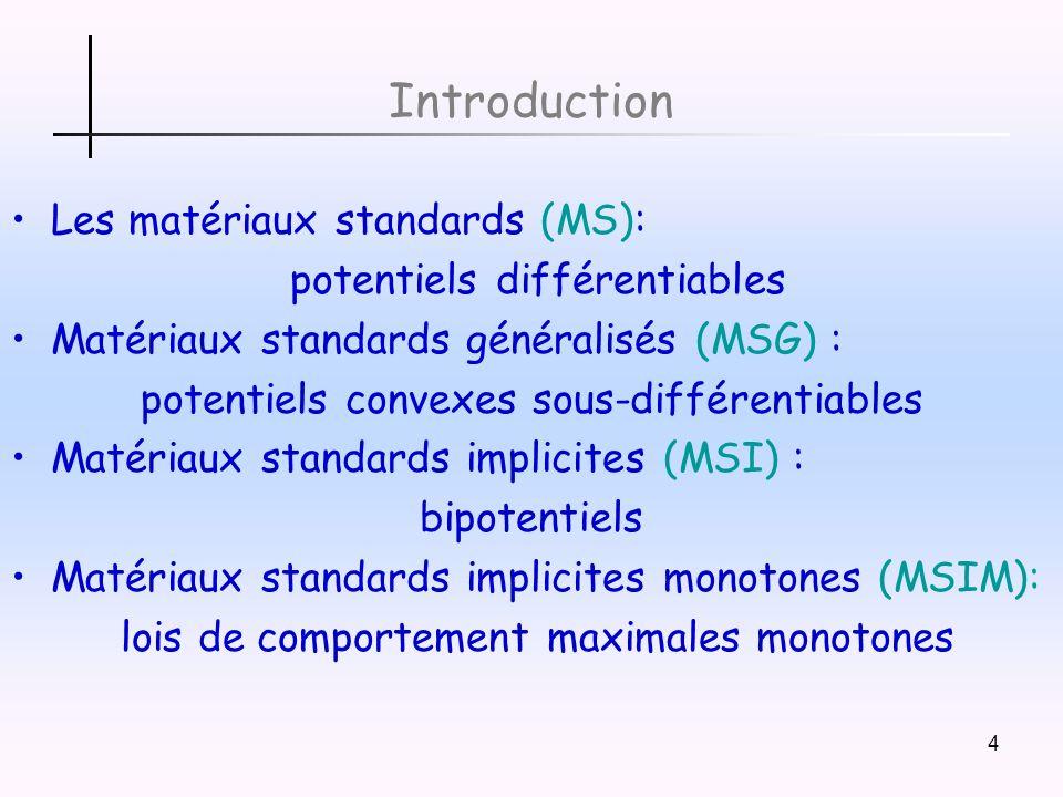 4 Introduction Les matériaux standards (MS): potentiels différentiables Matériaux standards généralisés (MSG) : potentiels convexes sous-différentiables Matériaux standards implicites (MSI) : bipotentiels Matériaux standards implicites monotones (MSIM): lois de comportement maximales monotones
