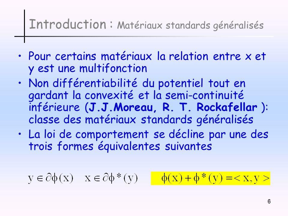7 Introduction : Généralisation La dernière égalité peut être regardée comme le cas extrémal de linégalité de Fenchel pour le couple (x,y) satisfaisant la loi de comportement A lappui de cette idée, Géry de Saxcé a modélisé le comportement des matériaux en renonçant à la somme des deux potentiels mais en travaillant avec une fonction du couple (x,y) appelée bipotentiel.