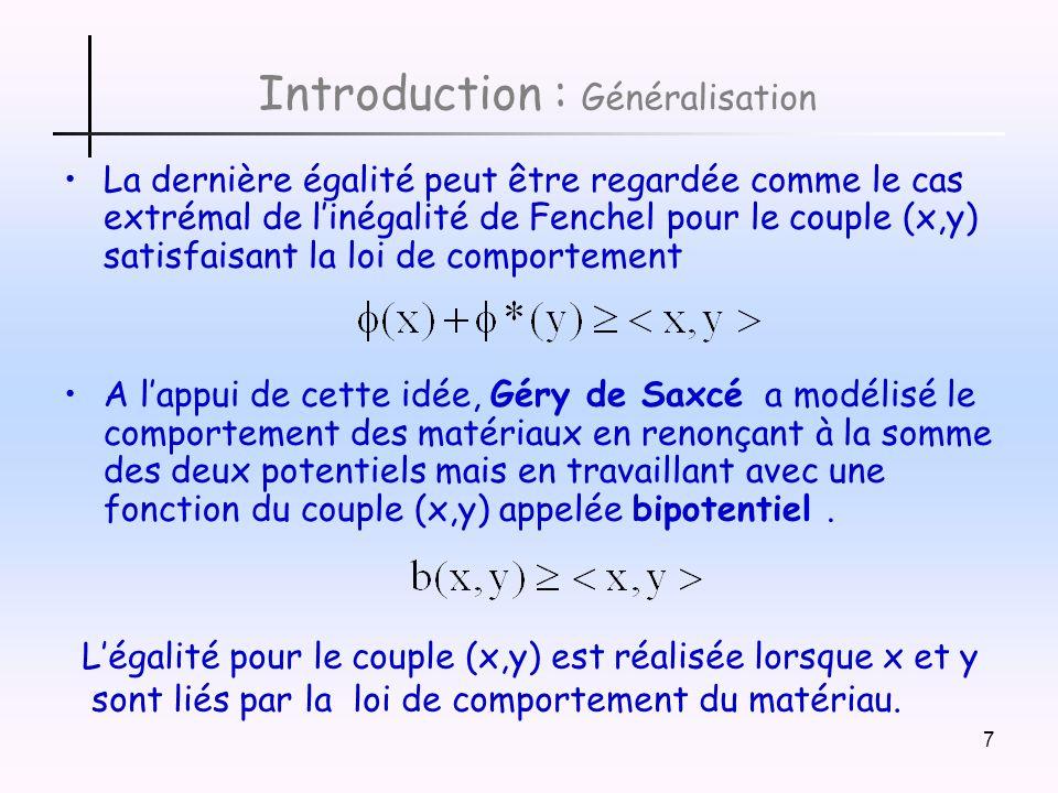 8 Introduction : Matériaux standards implicites Les bipotentiels b(x,y) respectent les règles suivantes Convexe et semi-continue inférieure en x Convexe et semi-continue inférieure en y et Un matériau est appelé matériau standard implicite (MSI) si sa loi de comportement sexprime par lune des 3 propriétés équivalentes suivantes