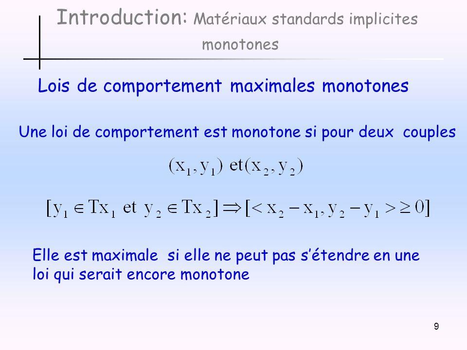 9 Introduction: Matériaux standards implicites monotones Lois de comportement maximales monotones Elle est maximale si elle ne peut pas sétendre en une loi qui serait encore monotone Une loi de comportement est monotone si pour deux couples