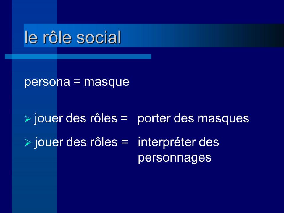 le rôle social persona = masque jouer des rôles = porter des masques jouer des rôles = interpréter des personnages