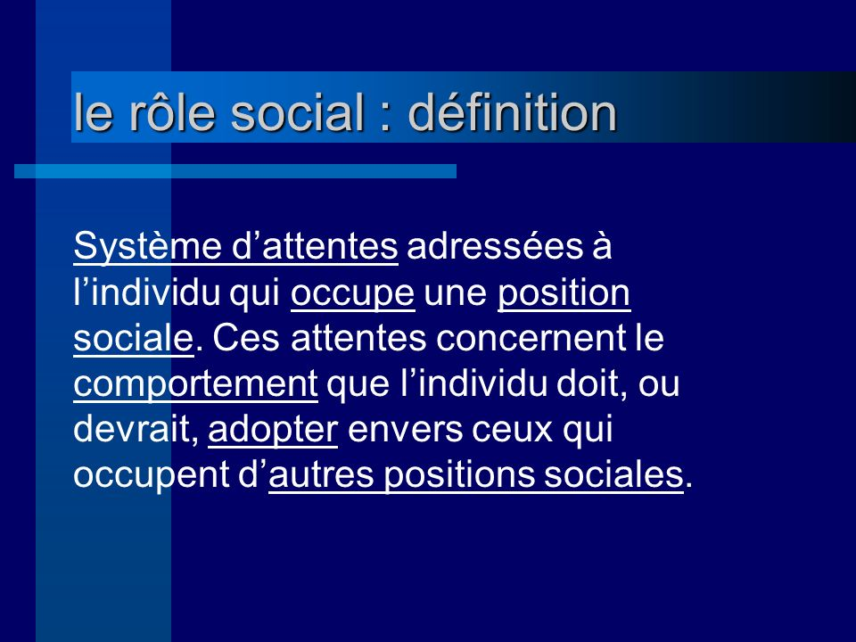 le rôle social : définition Système dattentes adressées à lindividu qui occupe une position sociale.