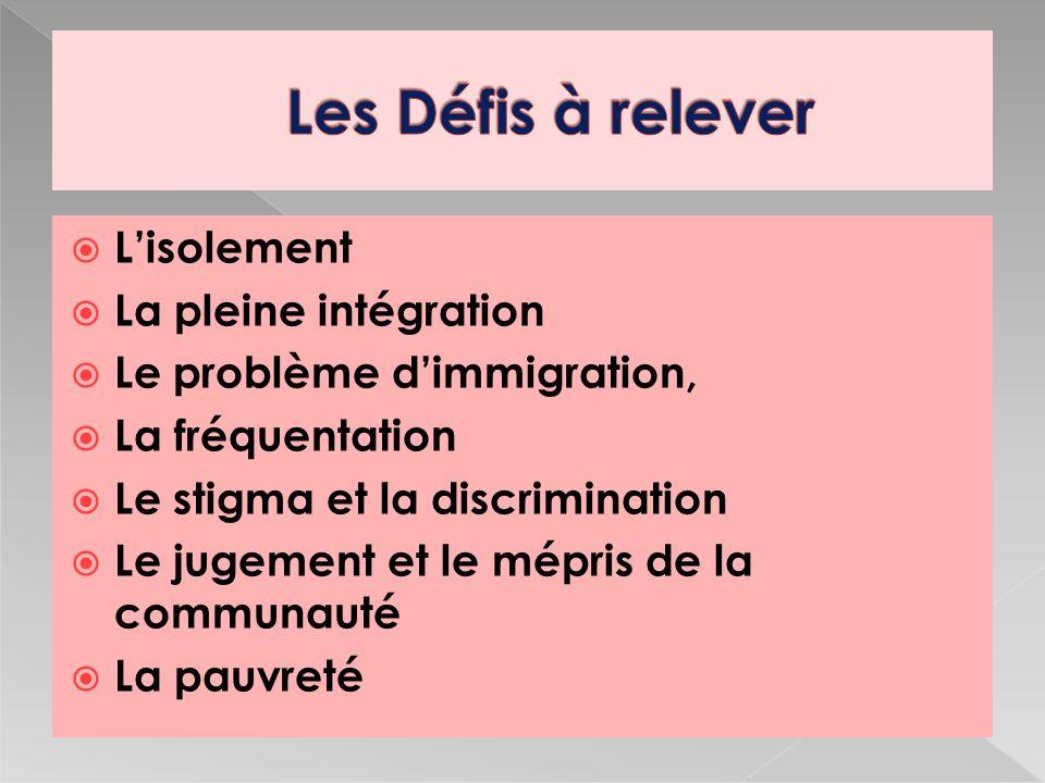 Lisolement La pleine intégration Le problème dimmigration, La fréquentation Le stigma et la discrimination Le jugement et le mépris de la communauté La pauvreté