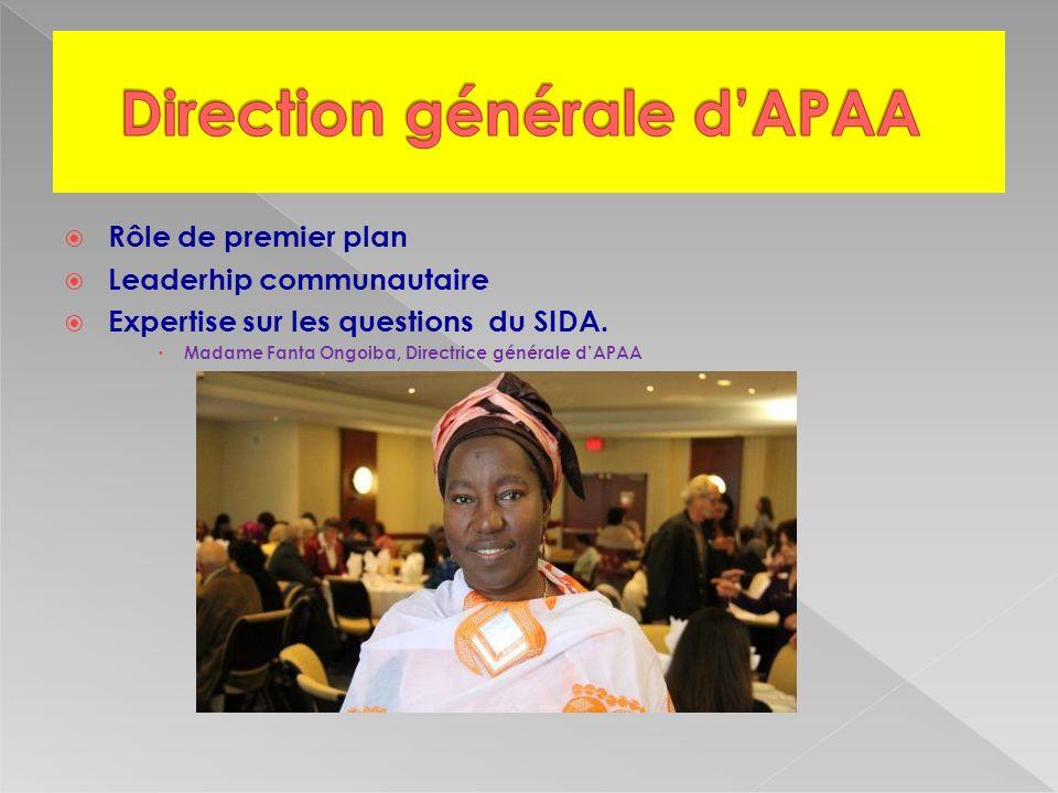Rôle de premier plan Leaderhip communautaire Expertise sur les questions du SIDA.