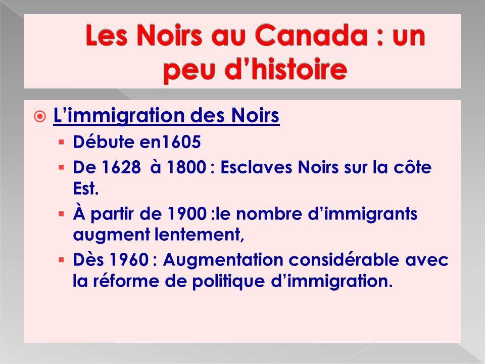 Limmigration des Noirs Débute en1605 De 1628 à 1800 : Esclaves Noirs sur la côte Est.