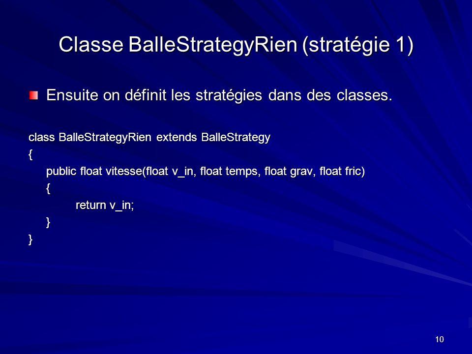 10 Classe BalleStrategyRien (stratégie 1) Ensuite on définit les stratégies dans des classes.