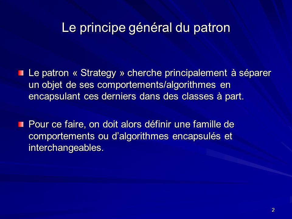 2 Le principe général du patron Le patron « Strategy » cherche principalement à séparer un objet de ses comportements/algorithmes en encapsulant ces derniers dans des classes à part.