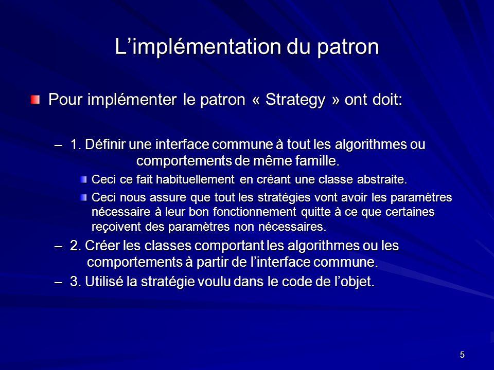 5 Limplémentation du patron Pour implémenter le patron « Strategy » ont doit: –1.