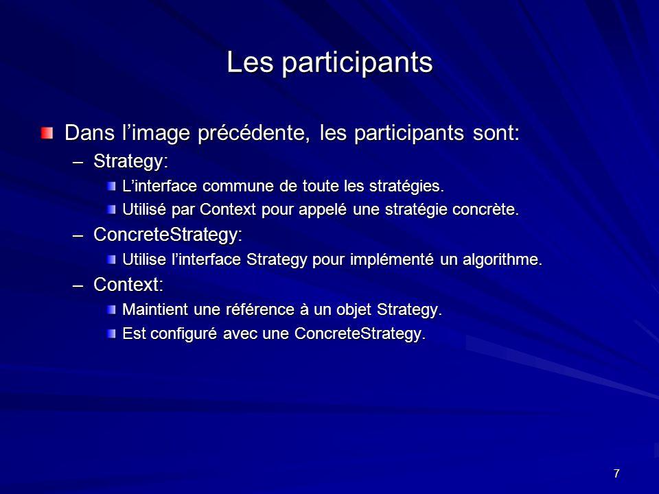 7 Les participants Dans limage précédente, les participants sont: –Strategy: Linterface commune de toute les stratégies.