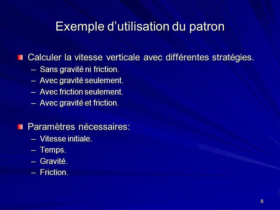 8 Exemple dutilisation du patron Calculer la vitesse verticale avec différentes stratégies.