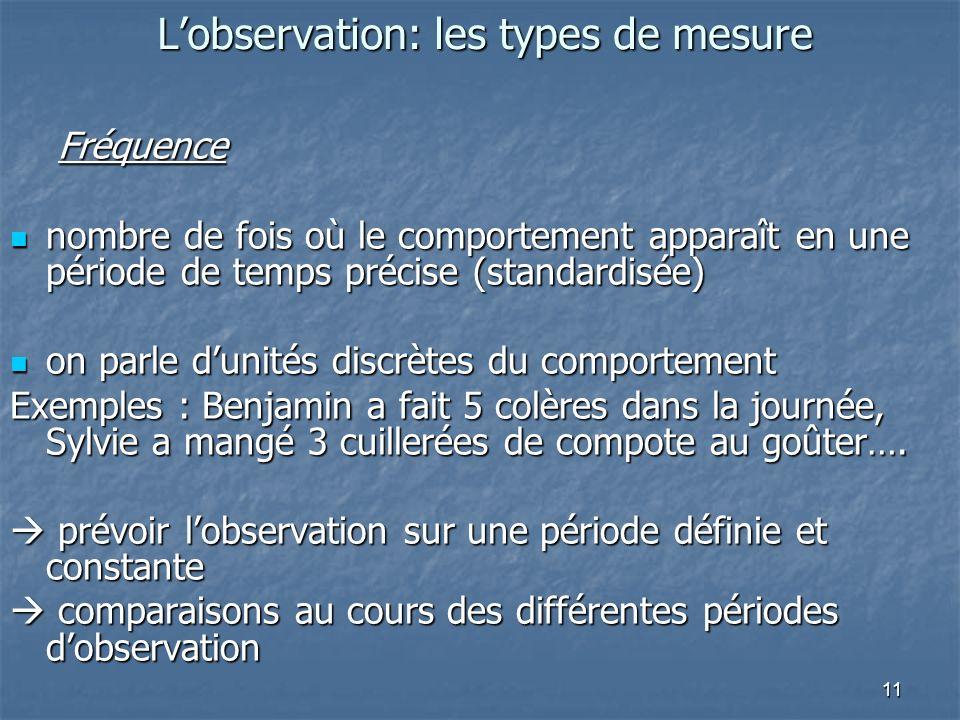 11 Lobservation: les types de mesure Fréquence nombre de fois où le comportement apparaît en une période de temps précise (standardisée) nombre de foi