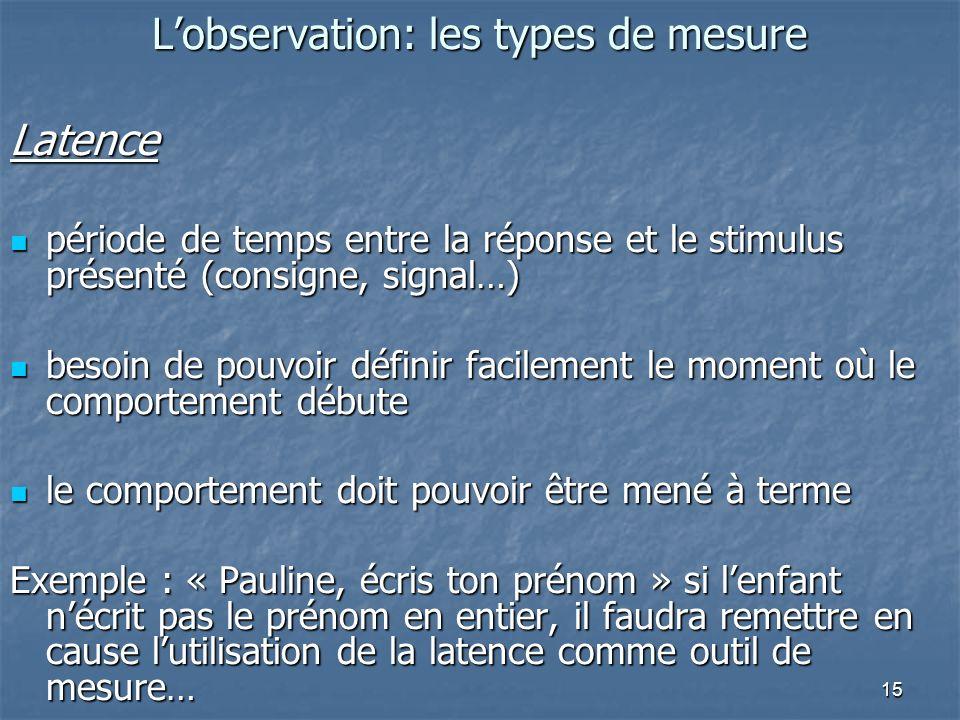 15 Lobservation: les types de mesure Latence période de temps entre la réponse et le stimulus présenté (consigne, signal…) période de temps entre la r