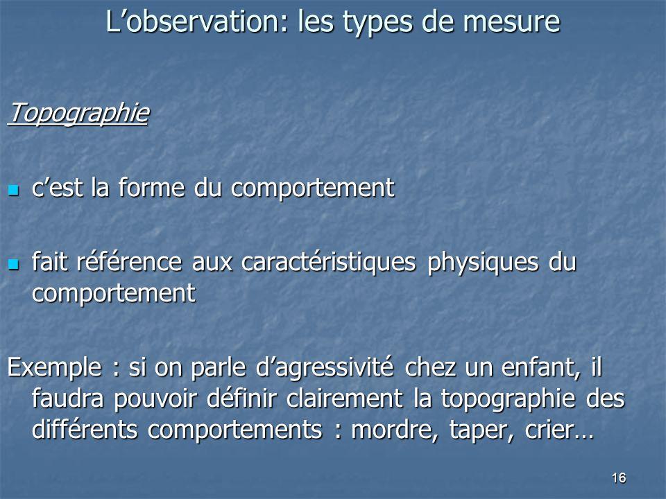 16 Lobservation: les types de mesure Topographie cest la forme du comportement cest la forme du comportement fait référence aux caractéristiques physi