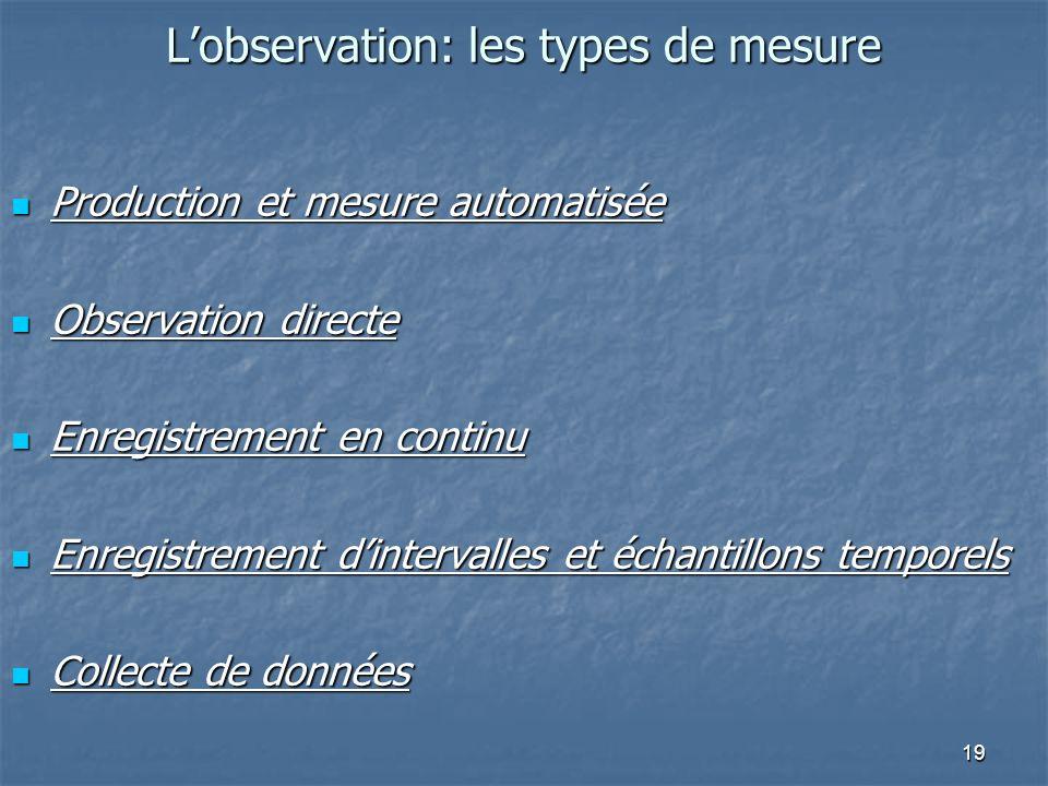 19 Lobservation: les types de mesure Production et mesure automatisée Production et mesure automatisée Observation directe Observation directe Enregis