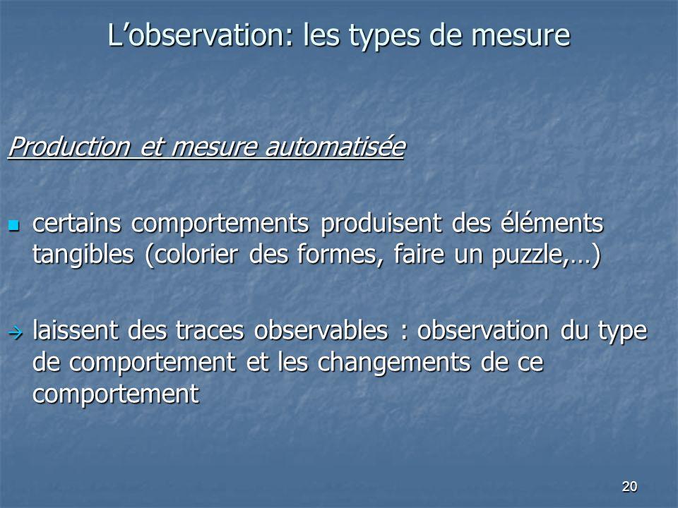20 Lobservation: les types de mesure Production et mesure automatisée certains comportements produisent des éléments tangibles (colorier des formes, f