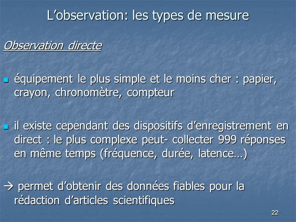 22 Lobservation: les types de mesure Observation directe équipement le plus simple et le moins cher : papier, crayon, chronomètre, compteur équipement