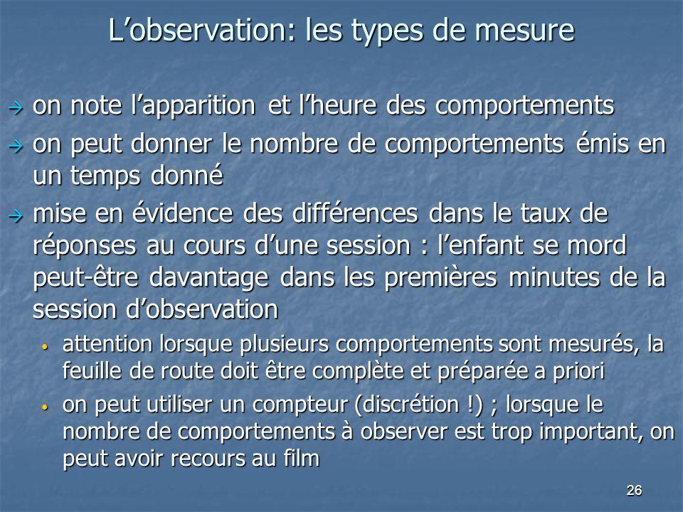 26 Lobservation: les types de mesure on note lapparition et lheure des comportements on note lapparition et lheure des comportements on peut donner le