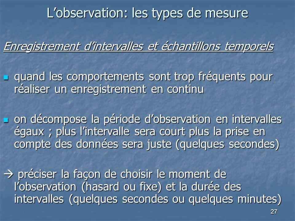 27 Lobservation: les types de mesure Enregistrement dintervalles et échantillons temporels quand les comportements sont trop fréquents pour réaliser u