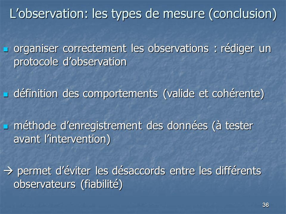 36 Lobservation: les types de mesure (conclusion) organiser correctement les observations : rédiger un protocole dobservation organiser correctement l