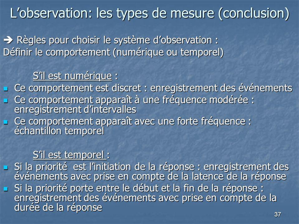 37 Lobservation: les types de mesure (conclusion) Règles pour choisir le système dobservation : Règles pour choisir le système dobservation : Définir