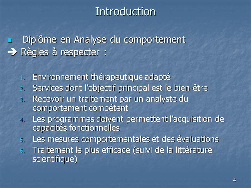 4 Introduction Diplôme en Analyse du comportement Diplôme en Analyse du comportement Règles à respecter : Règles à respecter : 1. Environnement thérap