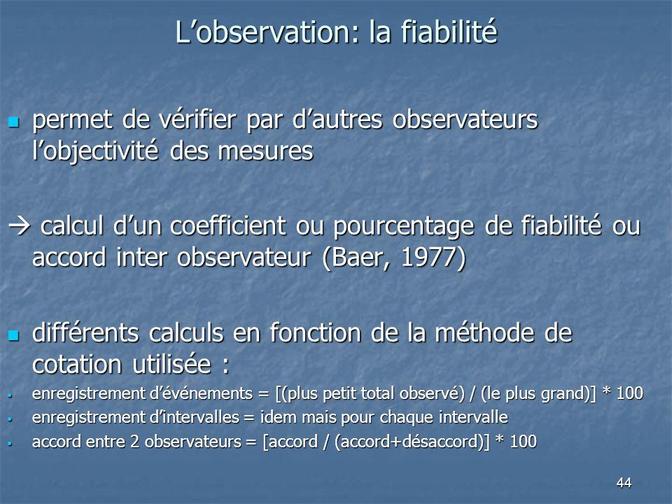44 Lobservation: la fiabilité permet de vérifier par dautres observateurs lobjectivité des mesures permet de vérifier par dautres observateurs lobject