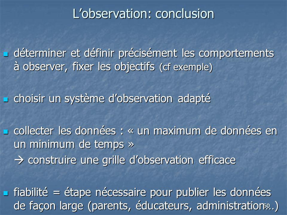 50 Lobservation: conclusion déterminer et définir précisément les comportements à observer, fixer les objectifs (cf exemple) déterminer et définir pré