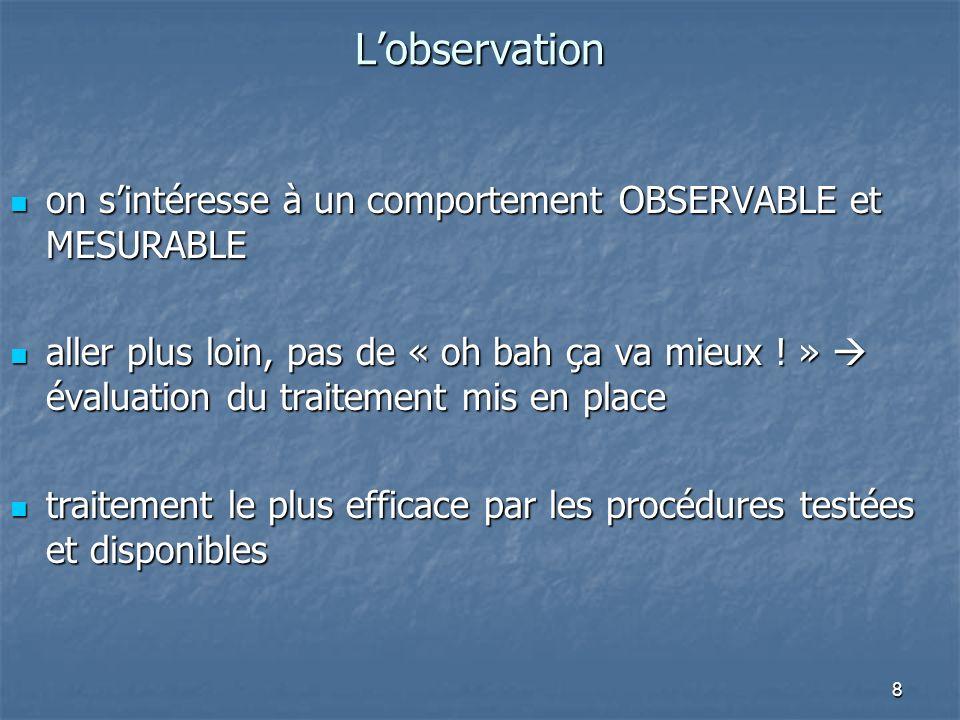 8Lobservation on sintéresse à un comportement OBSERVABLE et MESURABLE on sintéresse à un comportement OBSERVABLE et MESURABLE aller plus loin, pas de