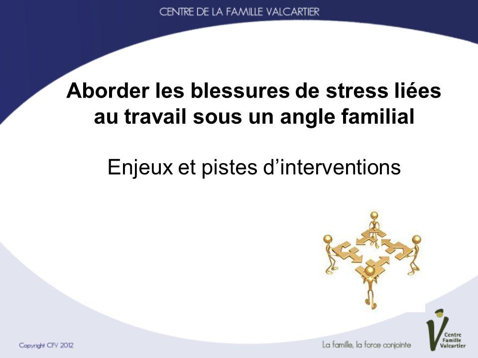 Aborder les blessures de stress liées au travail sous un angle familial Enjeux et pistes dinterventions
