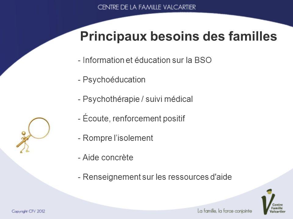 - Information et éducation sur la BSO - Psychoéducation - Psychothérapie / suivi médical - Écoute, renforcement positif - Rompre lisolement - Aide con