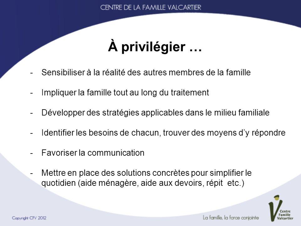 À privilégier … -Sensibiliser à la réalité des autres membres de la famille -Impliquer la famille tout au long du traitement -Développer des stratégie
