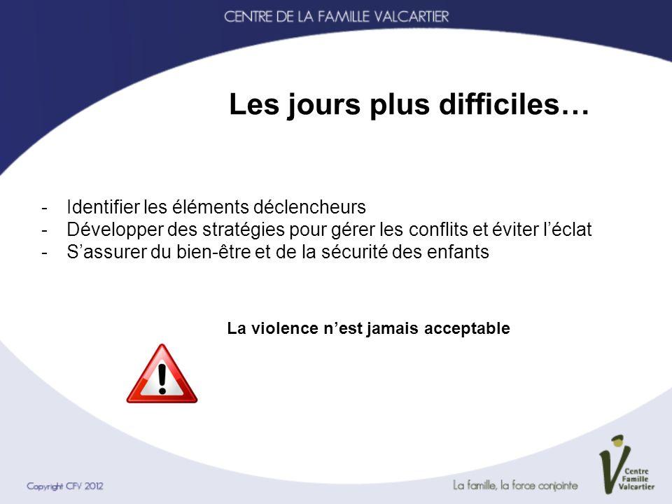 Les jours plus difficiles… -Identifier les éléments déclencheurs -Développer des stratégies pour gérer les conflits et éviter léclat -Sassurer du bien