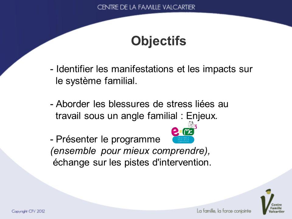 - Identifier les manifestations et les impacts sur le système familial. - Aborder les blessures de stress liées au travail sous un angle familial : En