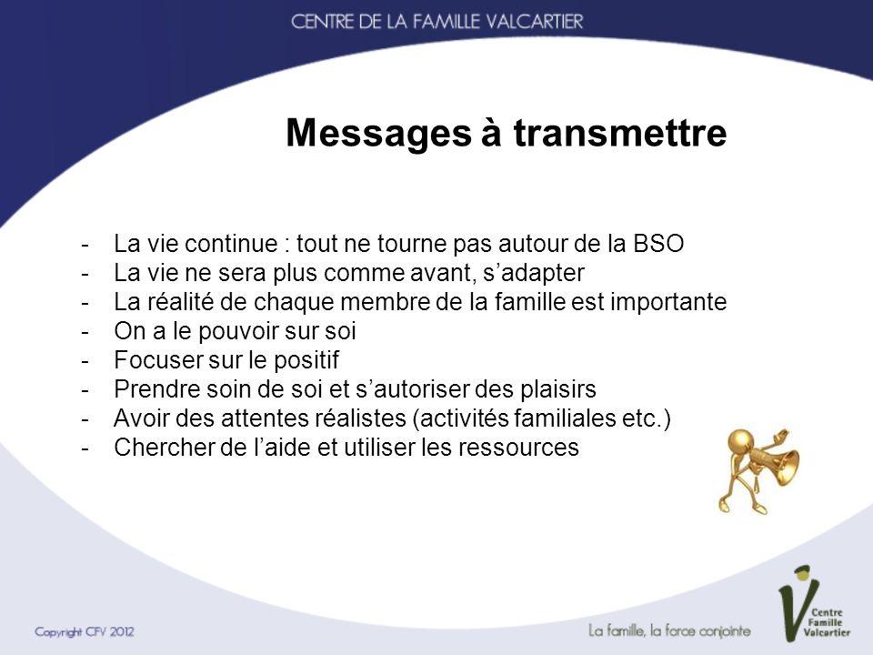 Messages à transmettre -La vie continue : tout ne tourne pas autour de la BSO -La vie ne sera plus comme avant, sadapter -La réalité de chaque membre