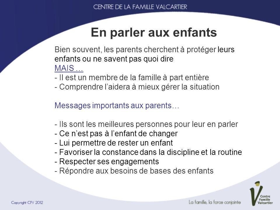 En parler aux enfants Bien souvent, les parents cherchent à protéger leurs enfants ou ne savent pas quoi dire MAIS … - Il est un membre de la famille