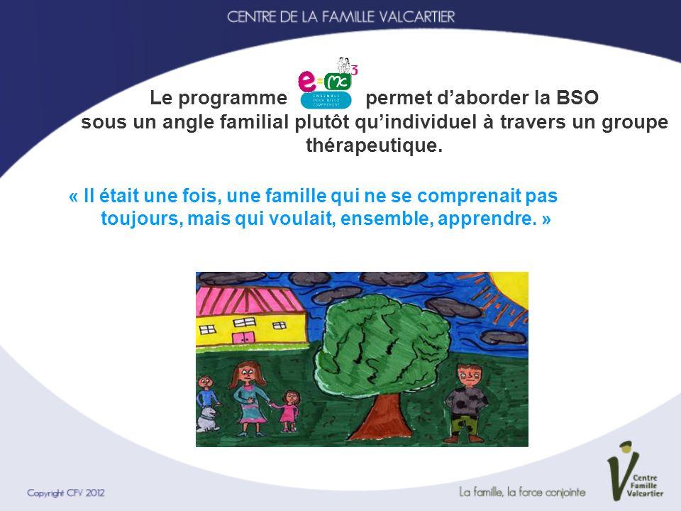 Le programme permet daborder la BSO sous un angle familial plutôt quindividuel à travers un groupe thérapeutique. « Il était une fois, une famille qui